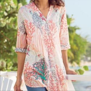 Soft Surroundings Mahla Reef Coral Turquoise Bead Pintuck Tunic Size L